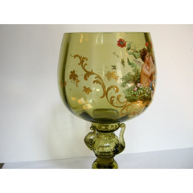 Antique Hand Painted Blown Glass Loving Chalice For Sale - Image 4 of 11