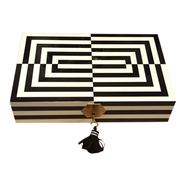 Final Markdown Jonathan Adler Op Art Lacquer Jewelry Box For Sale