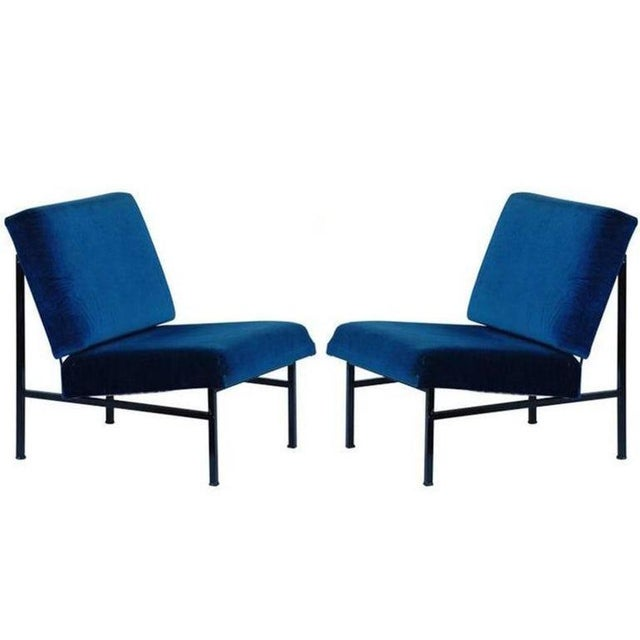 """Modern Contemporary """"Déclive"""" Blue Slipper Chairs - a Pair For Sale - Image 3 of 3"""