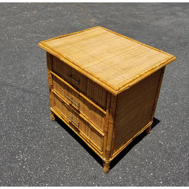 Mid-Century Modern Vintage Mid Century Modern Bamboo Rattan Nightstand For Sale - Image 3 of 10