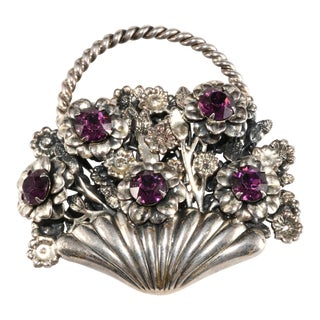 1950s Napier Flower Basket Purple Rhinestone Brooch For Sale