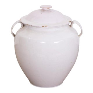 19th Century French Faience Confit Pot or Egg Pot With Lid and White Glaze For Sale