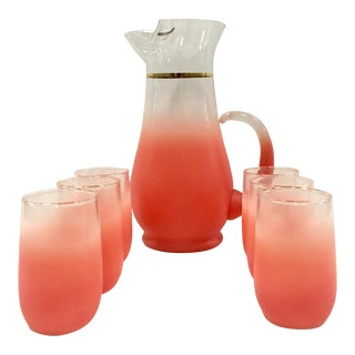 1950's Frosted Peach Glasses & Pitcher - Set of 7
