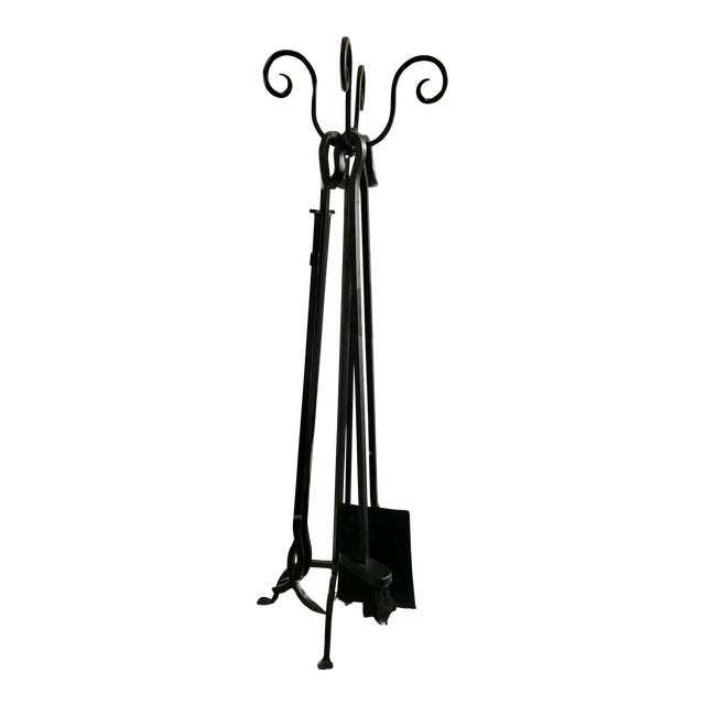 Mid-Century Iron Fire Place Set/ Black Metal Handle Fireplace Tool Set - 4 Piece Fireplace Tools For Sale