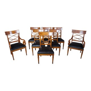 8 Baker Neoclassical Milling Road Walnut Directoire Dining Chairs Leather Scroll For Sale
