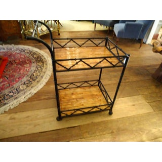 1960s Mid-Century Modern Black Iron and Rattan Bar Cart Preview