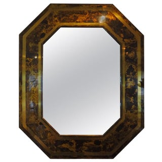French Bronze Octagonal Tortoise Shell Pattern Mirror Attributed to Maison Jansen For Sale