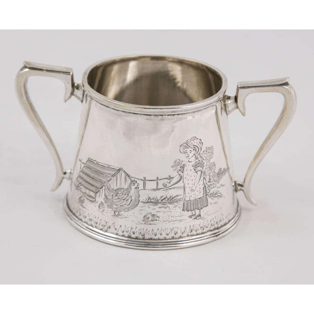 Metal Three-Piece Child's Tea Set and Tray For Sale - Image 7 of 11