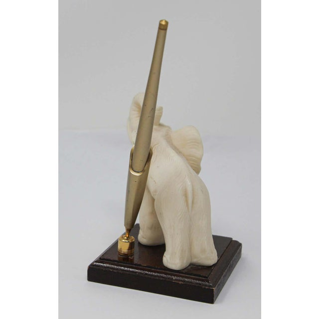 Vintage White Elephant Sculpture Pen Holder For Sale - Image 10 of 13