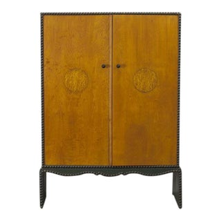 Otto Schulz Rare Cabinet in Birch With Green for Boet, Sweden, Ca. 1940 For Sale