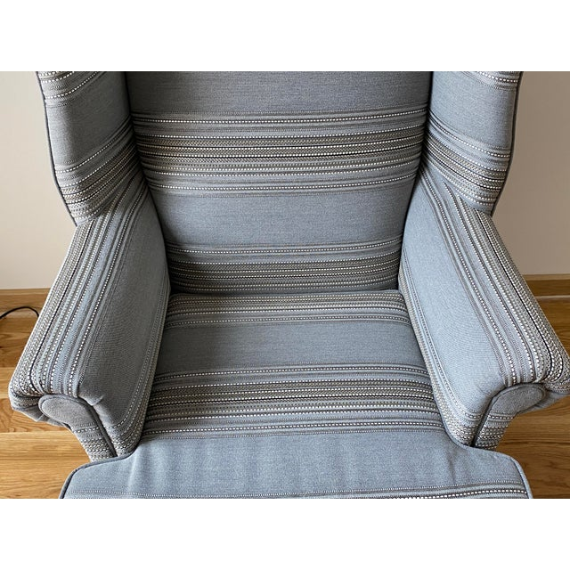 Traditional 1970s Gray Stripe Wingback Chair For Sale - Image 3 of 9