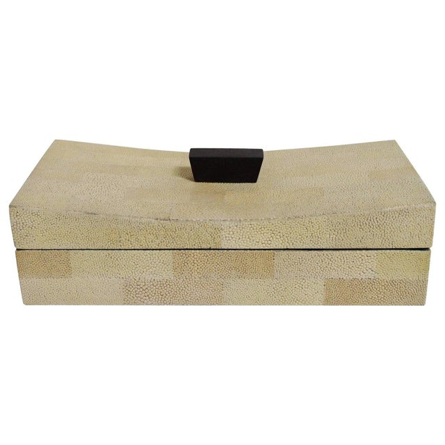 Beige Curved Shagreen Box by Fabio Ltd For Sale In Palm Springs - Image 6 of 6