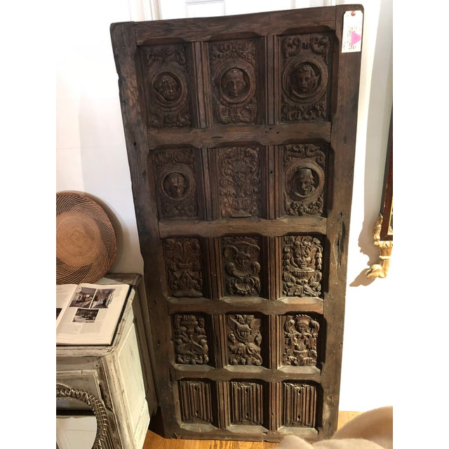 17th Century English Hand Carved Dark Oak Door For Sale - Image 6 of 6