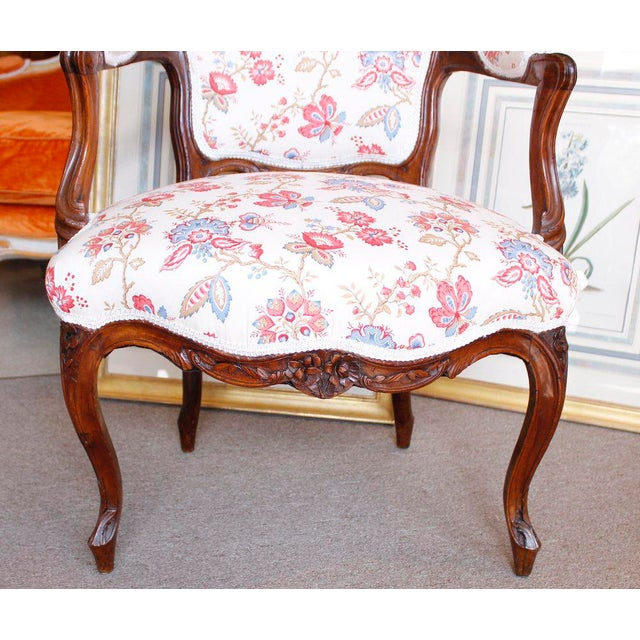 18th Century French Provincial French Louis XV Fauteuil Arm Chairs - a Pair - Image 7 of 10