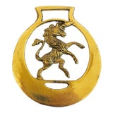 Image of Petite Vintage Brass Unicorn Wall Hanging For Sale