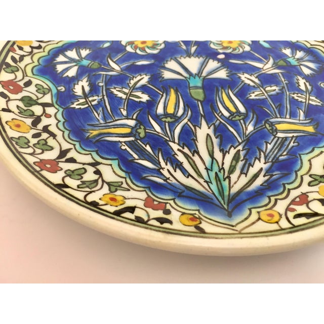 Moorish Floral Design Polychrome Hand Painted Ceramic Decorative Plate For Sale In Los Angeles - Image 6 of 10