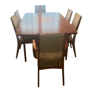 1970s Mid-Century Danish Modern Teak Dining Room Table and Chairs - Set of 7