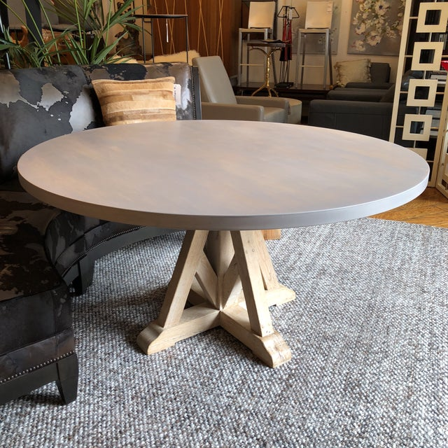 Contemporary Round Pedestal Dining Table For Sale - Image 4 of 9