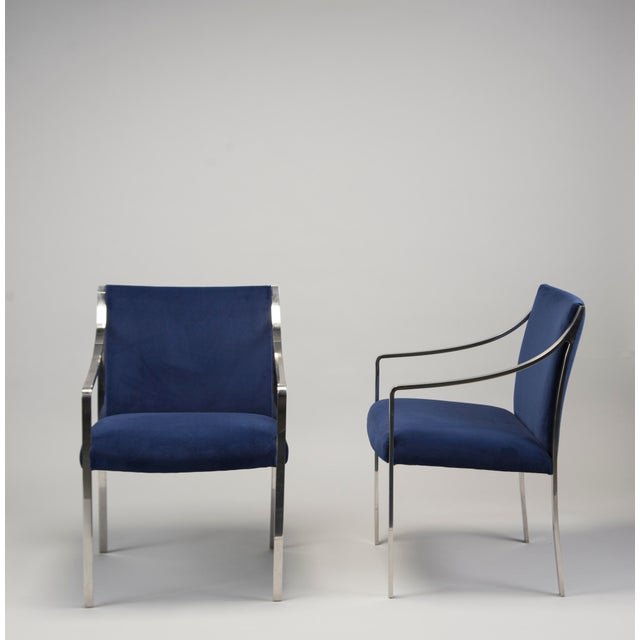 Silver Pair Bert England for Stow Davis Steel Frame Arm Chairs For Sale - Image 8 of 8