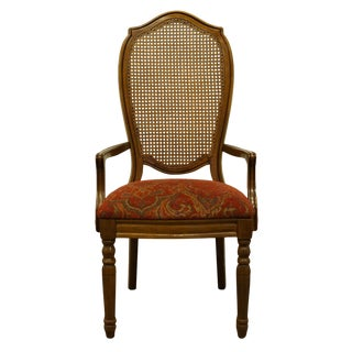 Late 20th Century Thomasville Furniture Villager Collection Cane Back Dining Arm Chair For Sale
