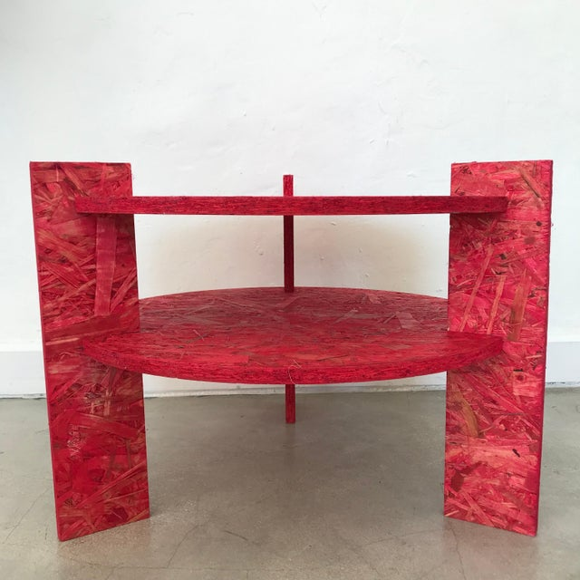 Excellent example of an adaptation of an classic Art Deco style table by Dominic Beattie, rendered in aniline dyed OSB, 2018.