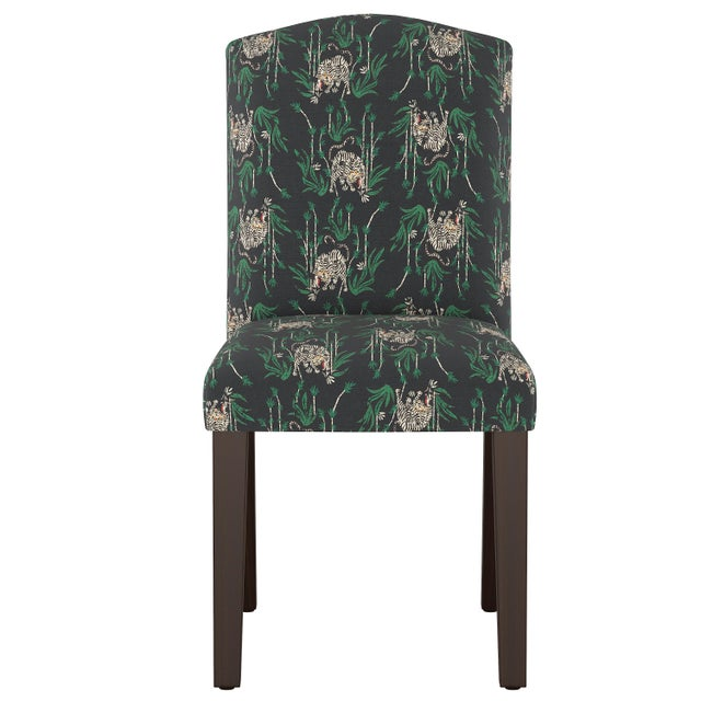Wood Camel Back Dining Chair in Tiger Bamboo Ink Oga For Sale - Image 7 of 7