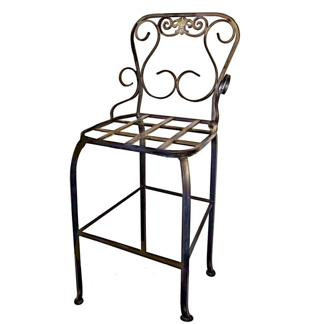 Italian Scrolling Wrought Iron Crested Back Gray Bar Stools For Sale - Image 4 of 5