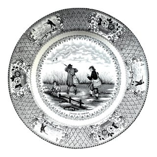 Antique Gien French Transferware Hunting Scene Plate For Sale