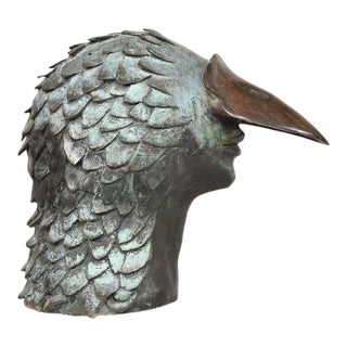 Stunning Brutalist Bronze Sculpture of a Bird-Man's Head, Mexico, 1960s For Sale