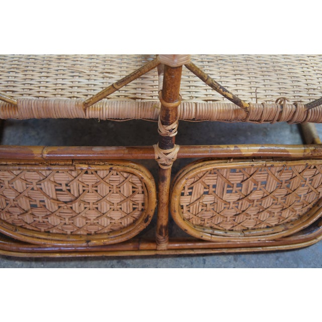 Antique Child's Rattan Cained Bamboo Settee For Sale - Image 10 of 11
