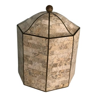 20th Century Hollywood Regency Maitland Smith Octagonal Tessellated Marble Box For Sale