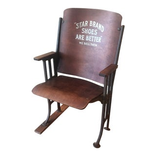 Vintage 1930's Star Brand Shoes Theatre Style Folding Seat For Sale