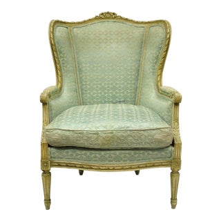 Early 20th Century Antique French Louis XVI Style Bergere Chair For Sale
