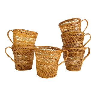 Vintage Wicker Drink Cozies - Set of 6 For Sale