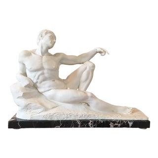 1960s Vintage Italian Male Nude Sculpture For Sale