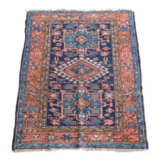 Antique Persian Karajeh Tribal Rug With Orange and Blue 3x4 For Sale