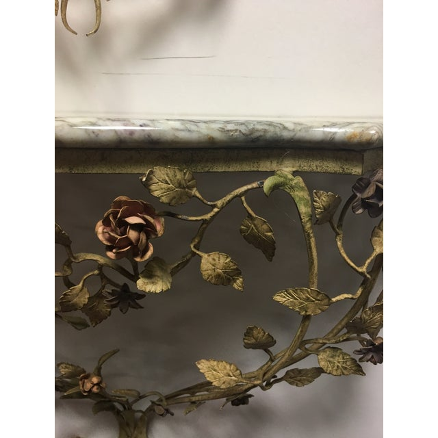 Glass 1950s Vintage Italian Tole Caged Mirror & Marble Top Console Table For Sale - Image 7 of 13