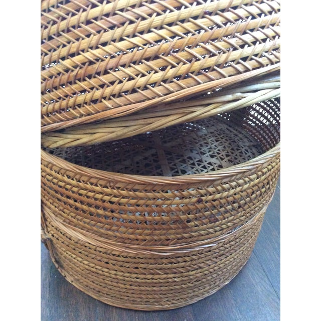 Antique Chinese Tiered Wicker Basket For Sale - Image 4 of 7