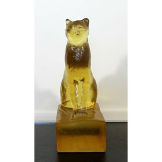 Art Deco Modern Dorothy Thorpe Resin Cat Sphinx Table Sculpture 1940s Yellow Preview