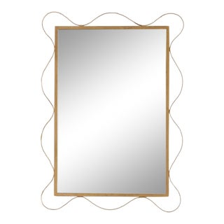 Mid Century Undulating Gold Mirror For Sale
