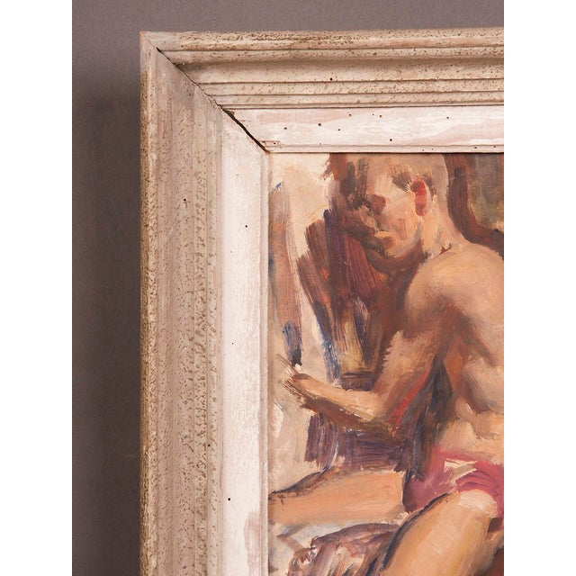 Signed painting by English artist Victor Hume of an Athlete, circa 1960 For Sale - Image 4 of 8