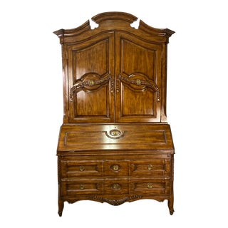Vintage French Provincial Walnut Secretary Desk & Hutch For Sale