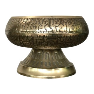 1970s Vintage Brass Bowl Planter For Sale