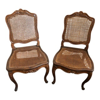 18th Century French Louis XV Cabriolet Cane Chairs- a Pair For Sale
