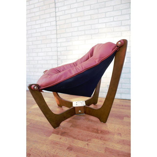 Wood Mid Century Modern Odd Knutsen Luna Lounge Chair and Ottoman For Sale - Image 7 of 13