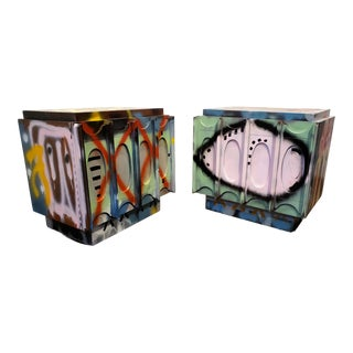 Pair of Artist Painted Graffiti Art Nightstands For Sale