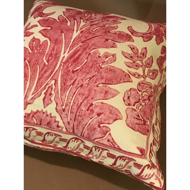 """Rococo Rococo Pillow From Scalamandre Linen Print """"Luciana Damask"""" in Raspberry For Sale - Image 3 of 6"""