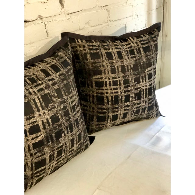 """Pair of 20"""" Black and Gilt Silk Pillows by Jim Thompson For Sale In Atlanta - Image 6 of 11"""