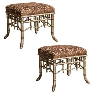 Faux Bamboo Coral Velvet Upholstered Ottomans - a Pair For Sale
