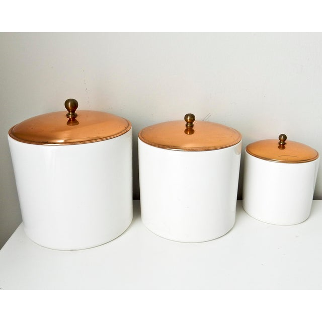 White Canisters with Copper Lids - Set of 3 - Image 3 of 7